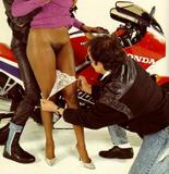 Ebony AYES fucked by two horny bikers